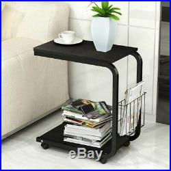 C-Shape Side Table for Sofa Bed Side End Table for Coffee Tea with Brown Pocket