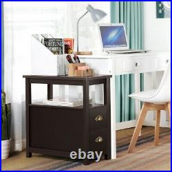 Chair Sofa Bed Side End Table Night Stand Snack Coffee Storage Shelf with2 Drawers