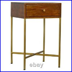 Contemporary Industrial Side Table End Table Bedside Table Cabinet Chestnut Gold