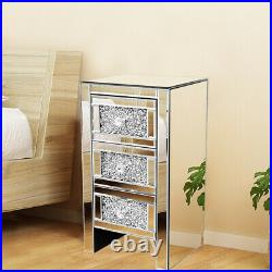 Crystal 3-Drawer Nightstand Mirrored Bedside Table Accent Side Lamp End Table US