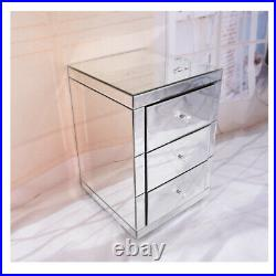 Crystal Mirrored Glass 3 Drawers Bedside Tables Cabinet Side Table Modern