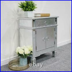 Crystal Mirrored Nightstand Bedside End Table Bedroom Side Stand Accent Modern