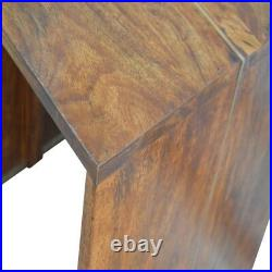 Dark Wood Bedside Table / Side Table With Gold Metal Inlay Detail