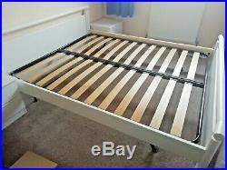 Design Bed Frame & Wooden Slats Base + Mattress + Bed Side Tables Luxury