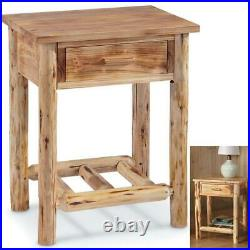 END TABLE WOOD FARMHOUSE RUSTIC CABIN Side Chair Drawer Log Nightstand Bedside