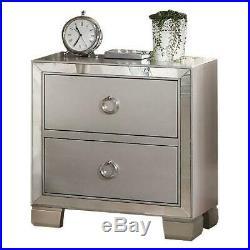 Elegant Mirrored Nightstand Bed Side Drawer Table Modern Wood Bedroom Furniture