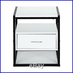 End Side Bedside Table Nightstand Storage Wood Bedroom Table With Drawers White