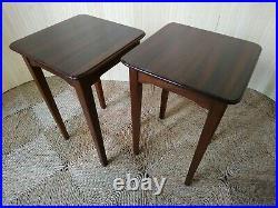 Fab Pair of 2 Vintage Retro Mid Century Teak Tiny Bedside Sofa Side End Tables 2