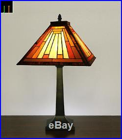 Free Postage JT Tiffany Japan Mission Stained Glass Table Lamp Bedside Side