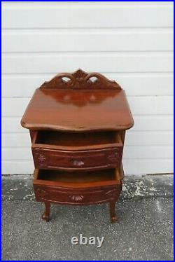 French Carved Mahogany Nightstand Side End Lamp Bedside Table 1779