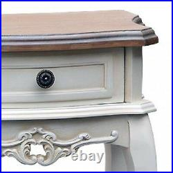 French Country White Bedroom Hall Furniture Wood Side Drawer Unit Bedside Table