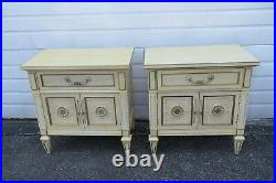 French Painted Pair Nightstands Side End Bedside Tables 1895