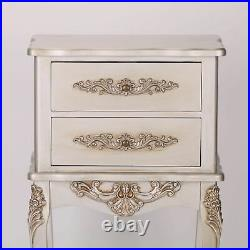 French Style Antique Silver 2 Drawer Bedside / Side Lamp Table / Night stand