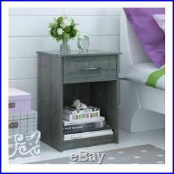 Gray Oak Finish Nightstand Bedside Table Drawer End Side Storage Shelf Bedroom