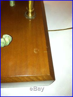Green Bronze Horse Table Lamp Wood Base Deske Lamp Bed Side Light NEW