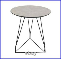Grey Marble Side Table / Round Stone Effect End Lamp Bedside Unit Black Metal
