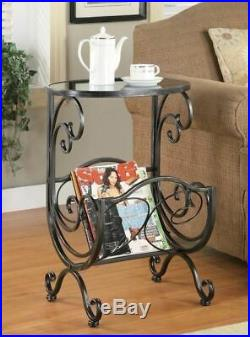 Gun Metal Gray Grey Glass Top Accent Table End Bed Side Magazine Rack Scroll