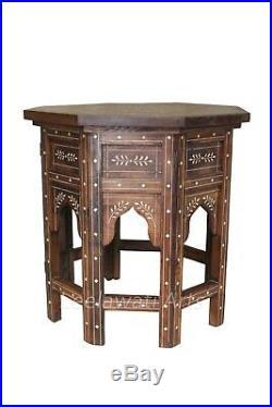 Handmade Bedside Side Table Wood + Bone Inlay Eight Angle Folding Table