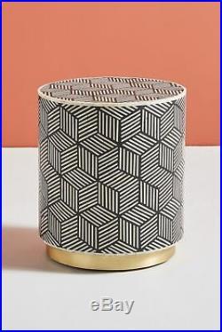 Handmade Bone Inlay Geometric Round Bed Side table Stool