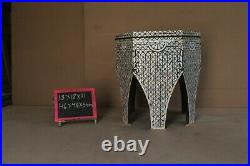 Hexagon Moroccan Floral Design Wooden Antique Side Table Stool