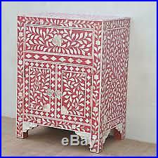 Indian Handmade Bone Inlay Bed Side Table Night Stand Floral Design