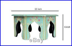 Indian Wooden Hand Painted Coffee Footstool Bed Side Low End Table Room Decor