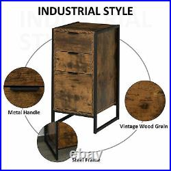 Industrial Bedside Table Rustic Metal Chest Drawers Side Cabinet Bedroom stand