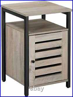 Industrial Cupboard Cabinet Rustic Bedside Nightstand Storage Gray Side Table