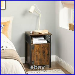 Industrial Style Side Table Vintage Tall Bedside Rustic Stand Cabinet Nightstand