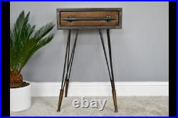 Industrial Vintage Bedside Cabinet 1 Drawer Metal Side Telephone Console Table