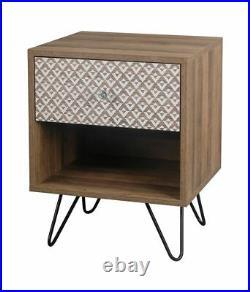 Industrial Wood Bedside Table / Retro Side Cabinet / Paisley Vintage Lamp Unit
