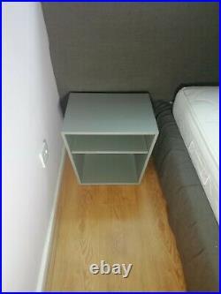 King Size Italian Design Bed & Wooden Slats Base+Bed Side Tables Luxury