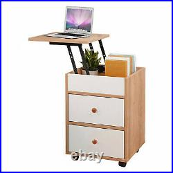 Lift Top Set Of 2 Nightstand End Table Bedroom WithStorage Organizer Side Bedside