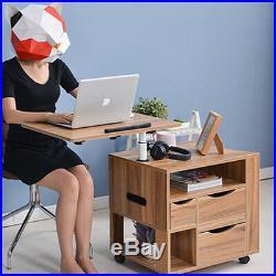 Lift Top Tilt Down Laptop Shelf End Side Bedside Table Nightstand Living Bedroom