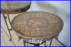 Lovely Pair X2 French Antique Side Tables, Bedside. Bronze Legs, RARE