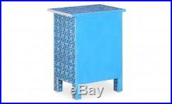 MOP Antique Handmade One Drawer Double Door Blue Bed Side Table
