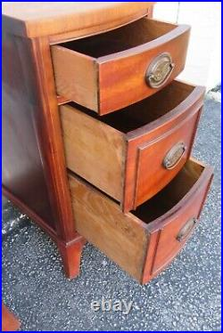 Mahogany Tall Narrow Pair of Nightstands Side End Bedside Tables 2362