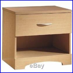 Maple Nightstand Bedside Table 1 Drawer End Side Storage Shelf Bedroom Furniture