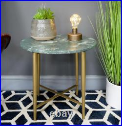 Marble Top Coffee Table Bistro Side End Lamp Unit Round Plant Stand Bedside New