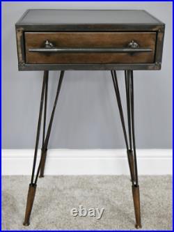 Metal Bedside Table Industrial Vintage Side Cabinet Rustic Hairpin Leg Room Unit