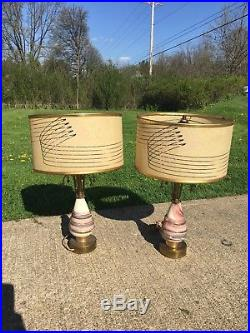 Mid Century Atomic Art Deco Bed Side Table Lamps
