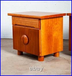 Mid Century Modern Nightstands End Side Tables 2 Drawers Vintage Mcm Bedside