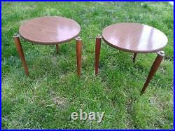 Mid Century Side Tables (14.5) Round (15)Pencil Legs side bedside plant