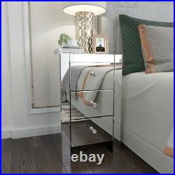 Mirrored 3 Drawers Nightstand Bedside End Table Plain Glass Lamp Side Table