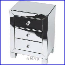 Mirrored Bed Side Table End Accent Modern Contemporary Bedroom Furniture Desk
