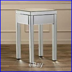 Mirrored Bed Side Table Night Stands For Bedrooms With Drawer Contemporary End