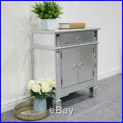 Mirrored Bedside Table 2 Door Storage Trim Accent Bedroom Side Nightstand Stand
