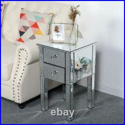 Mirrored End Side Accent Coffee Table Bedroom Living Room Sofa Table Silver