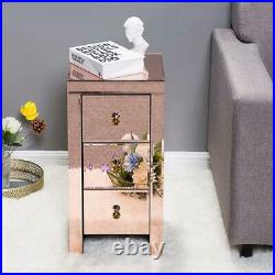 Mirrored End Side Table Bedside Nightstand With 3 Drawers Storage Living Room Rose