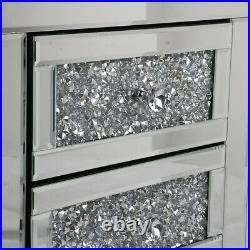 Mirrored End Table 3-Drawers Mirror Accent Side Table Silver Finished Nightstand